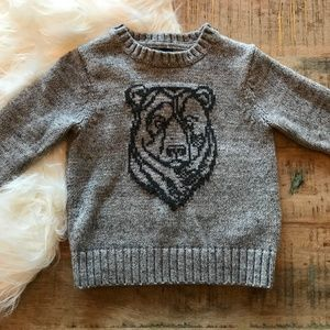 Baby Gap Gray Bear Graphic Sweater Size 2T